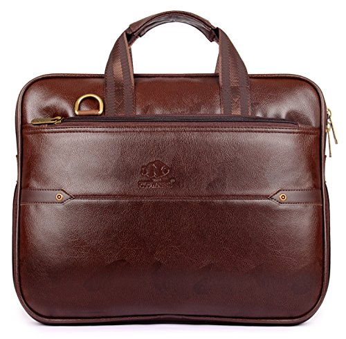 The Clownfish Supreme 15.6-Inch Faux Leather Laptop Bag (Chestnut Brown)