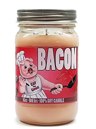 Bacon Scented Candle 100% Premium Soy Wax 16oz Mason Jar Candle Made in USA - S&M Candle Factory