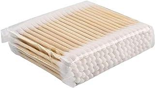 NIDONE Bambusowe bawełniane pąki biodegradowalne z podwójną końcówką waciki do makijażu podróżne czyszczenie uszu 100 szt