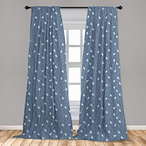 """Ambesonne Leaves Window Curtains, Branches Over Denim Background Contemporary Fashion Nature Mix Art Deco, Lightweight Decorative Panels Set of 2 with Rod Pocket, 56"""" x 84"""", Blue"""