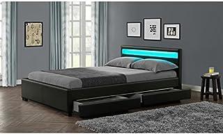 Lit Design Rona   Taille   140x190, Couleur   Noir
