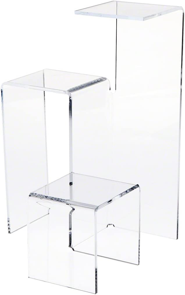 Plymor Clear Acrylic 3-Level Stair-Stepped Display Riser, 12.125