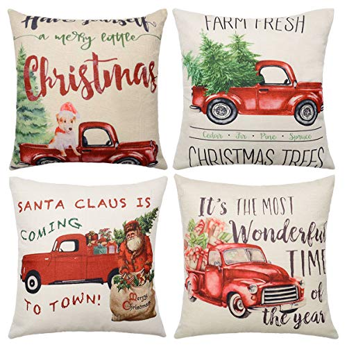 WIWAPLEX Merry Christmas Pillow Covers, 4Pack Christmas Throw Pillow Covers with Christmas Tree Dog Santa Claus Red Truck Pattern Cotton Linen Xmas Throw Cushion Case for Home Decoration 18 x 18 inch