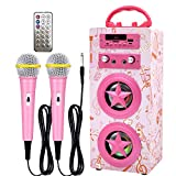 IndeCool Kids Bluetooth Karaoke Machine with 2 Microphones, Rechargeable Remote Control Wireless Karaoke Speaker Portable Karaoke Machine Music MP3 Player for Kids Adult Party Gift (Pink)