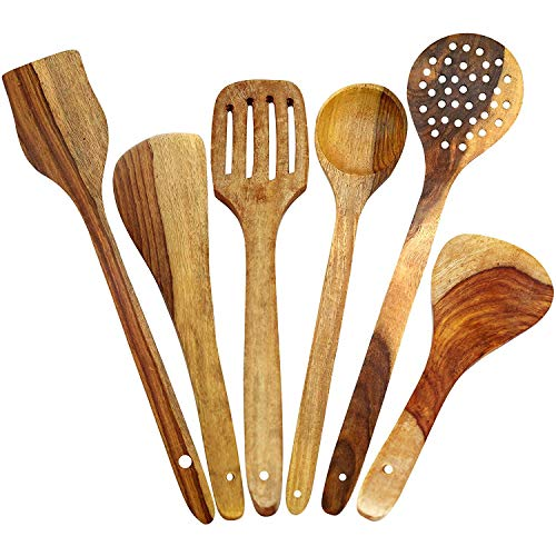 WhopperIndia Wooden Healthy Cooking Utensils Set - Wooden Spoons and Spatula Utensil Set - Wood Nonstick Cooking Spoons for Kitchen 6 Piece