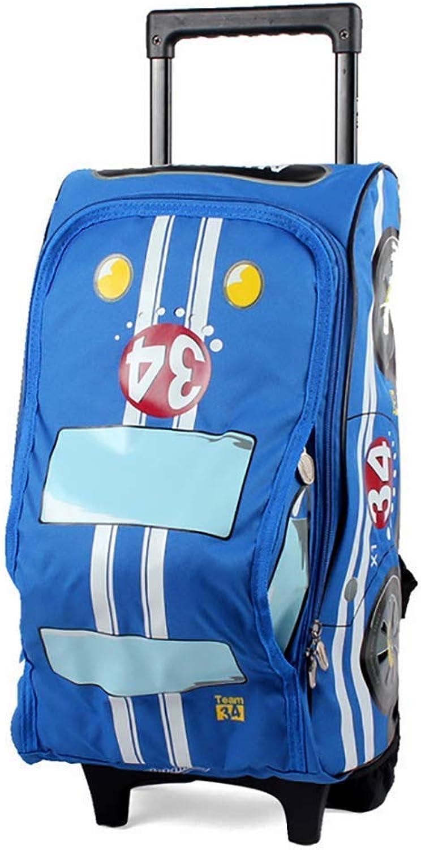 Campus Backpack 3D Car Waterproof Trolley Backpack Boy Rolling Backpack Rucksack for Travel School 612 Year Old,blueee School Rucksack (color   blueee)