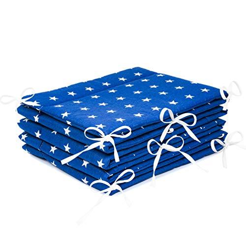 Amilian® Bettumrandung Nest Kopfschutz Nestchen 420x30cm, 360x30cm, 180x30 cm Bettnestchen Baby Kantenschutz Bettausstattung Sternchen blau (360x30cm)