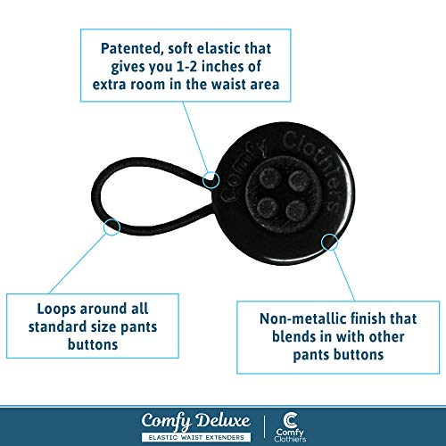 Comfy Deluxe Pants Waist Extenders by Comfy Clothiers - 3-Pack of Waist Extenders (3-Pack (2 Standard Buttons & 1 Small Button))