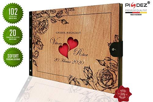 PISDEZ schönes Fotoalbum zum Selbstgestalten Beste Beschäftigung in der Corona-Krise - Album - Fotobuch - Hochzeitsbuch - Hochzeitsalbum - Gästebuch - Hochzeit Design - Lederbindung