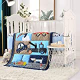 VIVILINEN Blue Baby Crib Bedding Set for Boys 3 Pieces Car Soft Toddler Nursery Bedding Sets with Crib Comforter Fitted Crib Sheet Crib Skirt for Standard Size Crib (Blue Cars)
