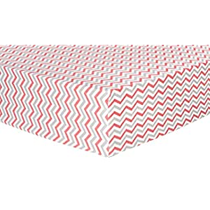 Trend Lab Chevron Deluxe Flannel Fitted Crib Sheet, Coral and Gray