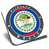 Great Single Coaster Square - Belize Royal Blue Flag Travel  Glossy Quality Coasters   Tabletop Protection for Any Table Type #9239