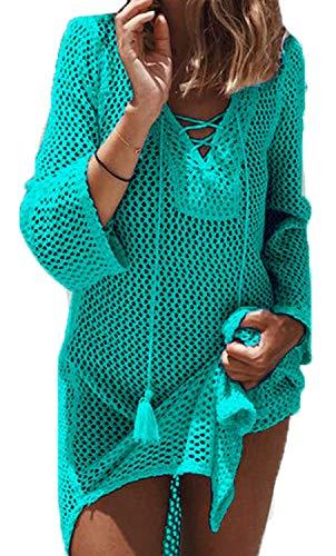 JFAN Vestido Suelto de Bikini Mujer Camisolas y Pareos para Mujer Traje de Baño Sexy Crochet Cover Up