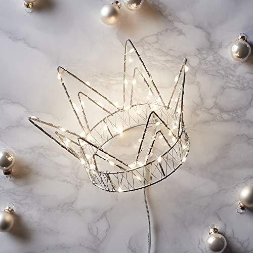 Lights4fun Pre Lit Crown Christmas Tree Topper Warm White Micro LEDs Battery Timer
