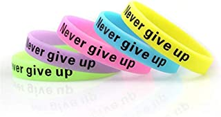 JSP 10 PCS Never Give Up Silicone Wristbands, Glow-in-The-Dark Rubber Bracelets