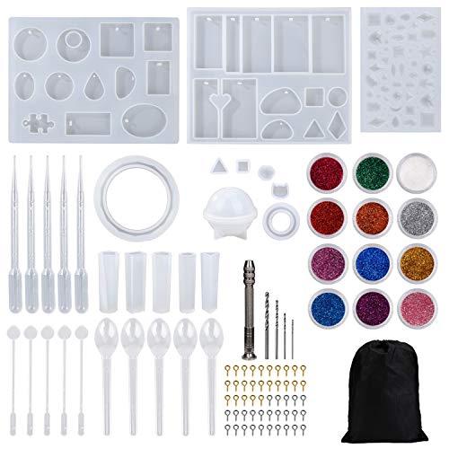 Moldes de Resina Silicona Epoxi Molde Resina Crafting Kit para Hacer Joyerias Collar Pendiente Fabricación de Colgante con Bolsa Almacenamiento 98 Piezas