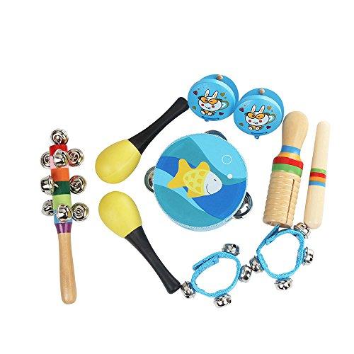 ammoon Muziek Speelgoed Kit 10 stks/set Percussie Instrumenten Set Band Rhythm Kit Inclusief Tambourine Maracas Castanets Handbells Houten Guiro voor Kinderen Peuters Lichtblauw