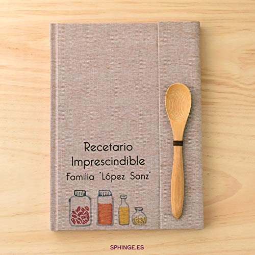 Sphinge - Recetario en blanco personalizado | Libro de recetas de cocina para escribir tapa dura A5 | Índice y cucharita de bambú | Español català euskera galego inglés | Encuadernación artesanal