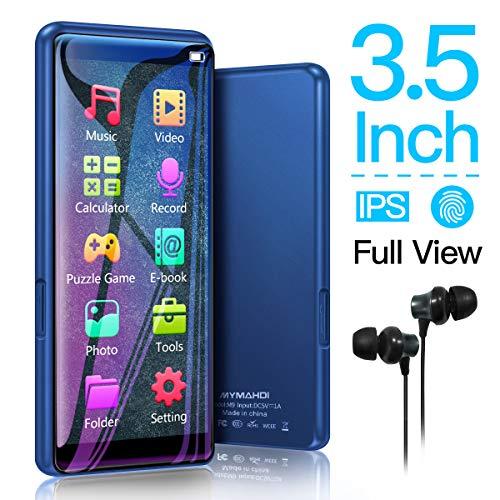 MYMAHDI MP3-Player, hohe Auflösung und Full Touchscreen, 8 GB HiFi, verlustfreier Sound-Player mit FM-Radio, Sprachaufnahme, unterstützt bis zu 128 GB, Blau