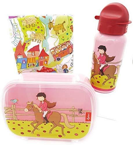 Sigikid Brotdose und Trinkflasche Pferd Pony Sue Gina Galopp Geschenkset für Kindergartenkinder inkl.Geschenkverpackung