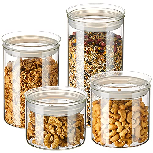 ZENS Glass Kitchen Canisters, 12cm Wide Mouth Airtight Storage Jars Set with Glass Lids, 4 Pack Large Tight Seal Cylinder Containers for Baking Flour Sourdough or Snack (23.6oz/32oz/50oz/74oz)