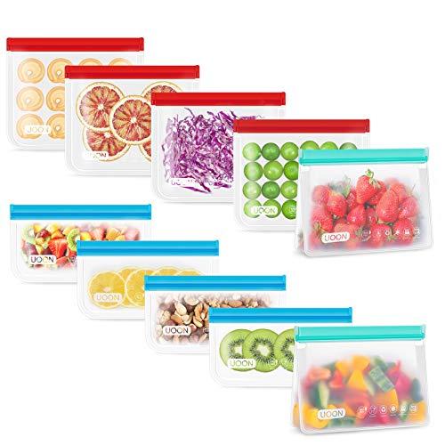 UOON 10 Pezzi-3 Dimensioni Diverse-Sacchetti per Alimenti Riutilizzabili -Bustine Trasparenti e Richiudibili con Zip-Sacchetti in Silicone per Frutta,Verdura,Carne-Senza BPA-Sacchetti Riutilizzabili