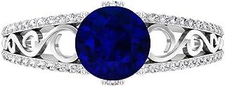 Anillo de compromiso solitario de 7 mm, D-VSSI Moissanita, anillo de oro y filigrana, oro blanco de 14 quilates.