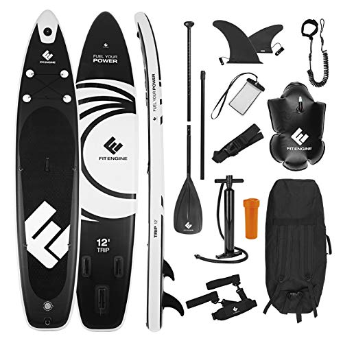 FitEngine Stand Up Paddle Board Set | 3 Finnen Allrounder Trip SUP | inkl. Action-Cam-Halterung, Paddel, Pumpe, Tasche, Schwimmboje u.v.m. | 365 cm