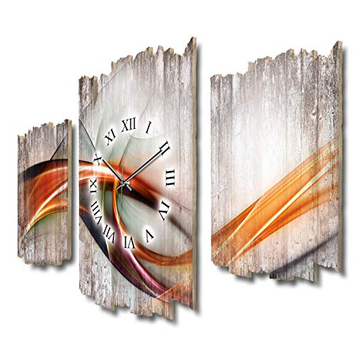 Moderne Welle Abstrakt Kunst Shabby chic Landhaus Dreiteilige Designer Funk Wanduhr leise Funkuhr ohne Ticken 95 x 60 cm aus MDF-Holz DTWH099FL (leises Funkuhrwerk)