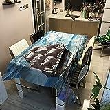 WSJIABIN Mantel Algodón y Lino Impresión Digital Impermeable Mantel a Prueba de Aceite Antimanchas Funda elástica para Silla de Asiento Adecuado para Interiores y Exteriores (100x140cm