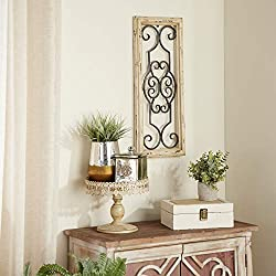Deco 79 52732 Wood Metal Wall Panel, 25 H x 10 W, 25 x 10, Ivory