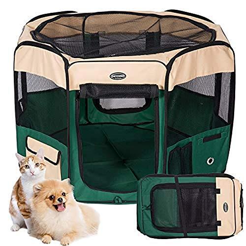 YJDT Penna Portatile per Cani Box per Cuccioli Penna per Animali in Tessuto Penna da Gioco Pieghevole per Cani Gatti Guinea Pig Run Gabbia Tenda (Diametro: 120 cm Altezza 58 cm)
