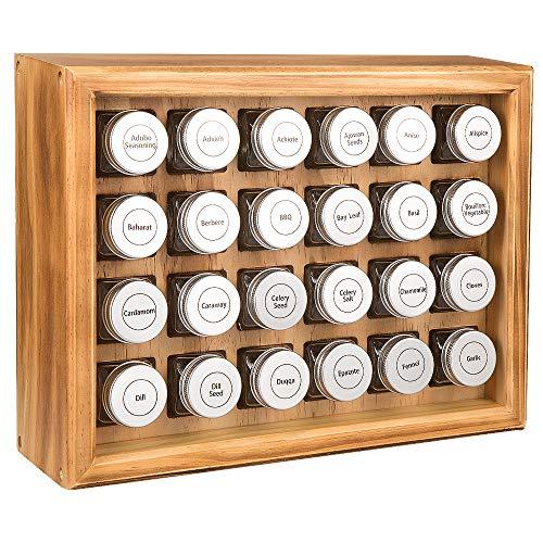 Welcare Estante de Especias, 100% de Madera sólida, Incluye 24 frascos de Vidrio Transparente de 120 ml, 315 Etiquetas preimpresas. Completamente ensambladas. (Requemado)