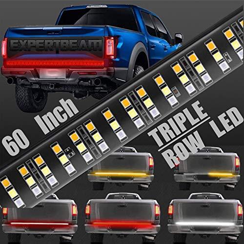 EXPERTBEAM Tailgate Light Bar 60 Inch Triple Row 504 LED Full Function Tailgate Light Bar Turn Signal, Parking, Brake, Reverse Lights for Truck Trailer Pickup Jeep RV Van Dodge Ram Chevy GMC
