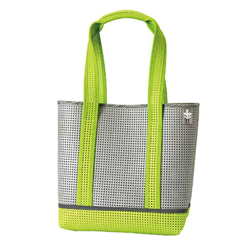 Time Concept EVA Resin Lightweight Mesh Shape Tote Bag - Neon Green - With Reflective Tape, Travel Beach Carry-On