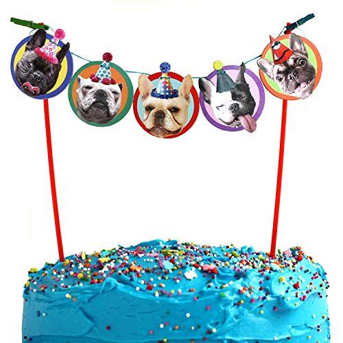 French Bulldog Cake Garland, photographic dog birthday party decoration