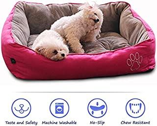 WarmShe Pet Bed for Dogs and Cats, Ultra-Soft Warm Paw Print Pet Bed Sofa Water Resistant with Removable & Washable Cover