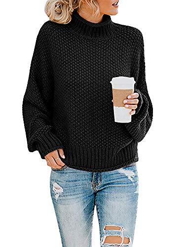 Yidarton Pullover Damen Elegant Winter Rollkragenpullover Strickpullover Grobstrickpullover Casual Lose Pulli Langarm Oberteile (3261-Schwarz, Medium)