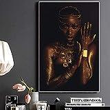 Rahmenlose MalereiBlack und Gold afrikanische Frau mit Halskette Leinwand Malerei Poster und Wandkunst Bild von Wohnzimmer30X45cm