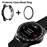 [2 Pack]JZK Samsung Galaxy watch 46mm/Gear S3 Frontier & Classic Bezel Ring Styling,Adhesive Cover Anti Scratch & Collision Protector Bezel Loop+Protector Case for Galaxy Watch 46mm Watch Accessories