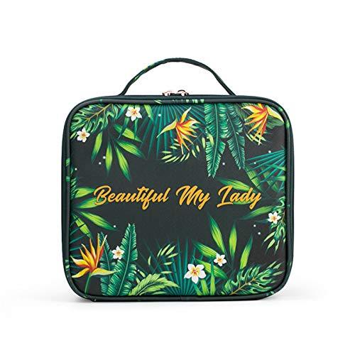 TURMIN Make-up Tasche Große Kosmetikkoffer Tragbare Reisekosmetiktaschen Wasserdichte Komestikkoffer Multifunktions Make up Koffer für Frauen Mädchen-Pflanze
