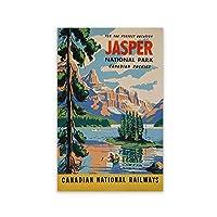 YQQICC カナダジャスパー国立公園風景壁アートキャンバス絵画プリントヴィンテージ旅行ポスター写真ホームルームの装飾-40x60cmフレームなし