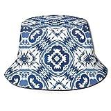 Henry Anthony Sombrero de Cubo único para Mujeres y Hombres, Sombrero de Golf de Pescador, Gorra Plegable, Escudo de Sol/Lluvia, Estampado de azulejo portugués Antiguo de cerámica