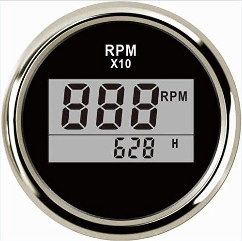Odometer Spur Auto Instrumententafel Tacho Gauges 0-6000RPM Zähler 85mm Drehzahlmessern Drehzahlverhältnis mit Stundenzähler for Auto-Boot ZHQHYQHHX (Color : Ivory, Size : Kostenlos)
