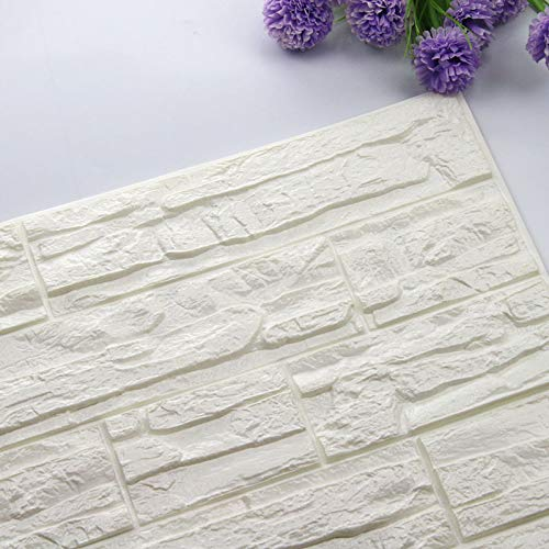 Home Decoration Self Adhesive 3D Brick Wall Stickers Stone Living Room Decor Foam Waterproof Panels Covering Wallpaper TV Background Kids Home (Color : White, Size : 60X60cmX8pcs)