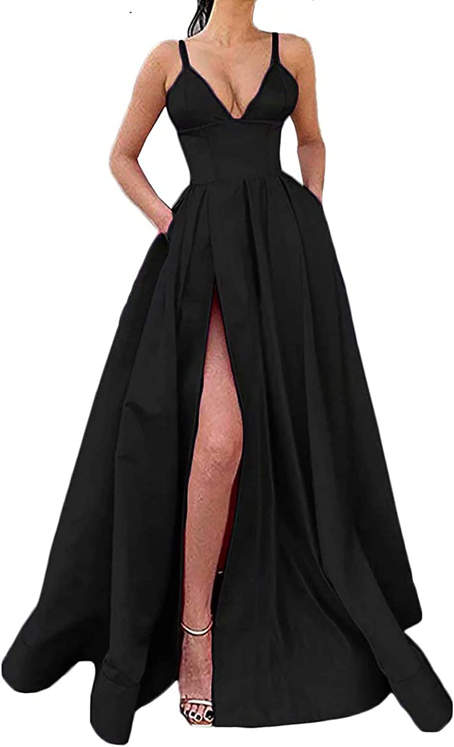 PrettyTatum Prom Dresses for Women Ball Gown Long Satin Formal Evening Gown V Neck Sleeveless with Pockets