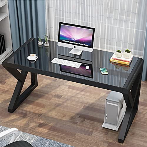 Computer Desk & Gaming Desk, Home Office Desks 39.3 Inch- Modern Simple Writing Study Glass Computer Desk Home Office Desks Space-Saving Multipurpose Workstation with Metal Frame (Black- 39.3 inch)