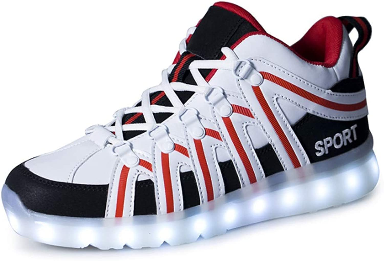 Men's Women's Glowing shoes LED Glowing USB Charging Couple Casual shoes (color   B, Size   43EU)