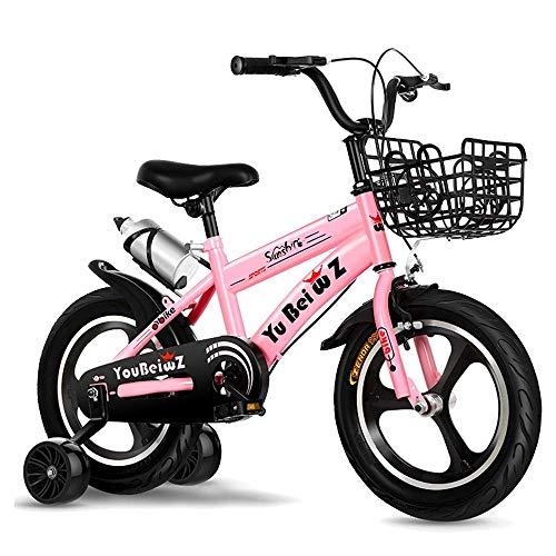 HUAQINEI Bicicleta para niños para niñas y niños de 2 a 13 años, Bicicleta para niños de 12/14/16/18 Pulgadas con Ruedas y Frenos de Mano