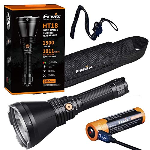 Fenix HT18 1500 Lumen high powered long throw beam LED flashlight, red/green filters, rechargeable battery with EdisonBright brand battery carry case bundle